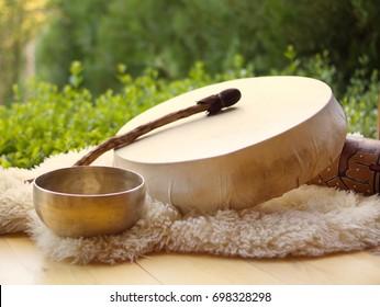 Shamanic tambourine. Shamanic drum.