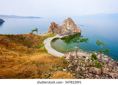 Shamanka (Shamans Rock) on Baikal lake near Khuzhir at Olkhon island in Siberia, Russia. Lake Baikal is the largest freshwater lake in the world.