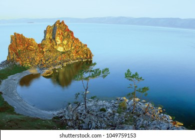 """Shaman-rock."" Cape of Olkhon Island on Lake Baikal Currently has the status of a state natural and historical monument. Russia"