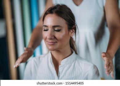 Shamballa Meditation. Shamballa Therapist Performing Treatment