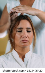 Shambhala Meditation Practice. Shamballa Therapist Performing Treatment
