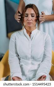 Shambhala Treatment. Shamballa Therapist Performing Treatment
