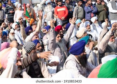 Shambhu, Punjab India .06 Feb 2021 Indian Farmer Protest against Farm Bill Haryana Punjab border Shambhu.
