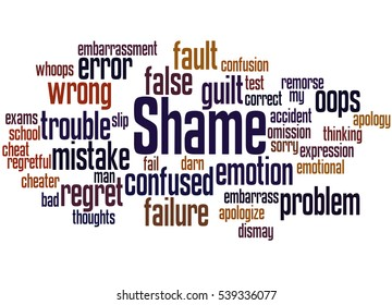 Shame, word cloud concept on white background.