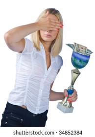 shamed woman with trophy full of money