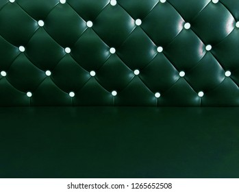 shameless beautiful dark leather sofa, background of white buttoned on luxury green leather pattern, Vip luxury green leather background with buttons, vintage leather cushion green color background