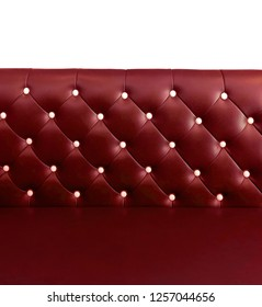 shameless beautiful leather sofa, isolated background of white buttoned on luxury red leather pattern, Vip luxury hot red leather with buttons, vintage leather cushion beautiful red color background