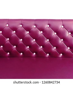 shameless beautiful leather sofa, isolated background of white buttoned on luxury colorful pink leather pattern, Vip luxury bright pink leather with buttons, vintage leather cushion pink color