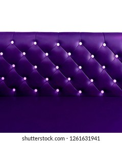shameless beautiful leather sofa, isolated background of white buttoned on luxury colorful purple leather pattern, Vip luxury bright violet leather with buttons, vintage leather cushion purple color