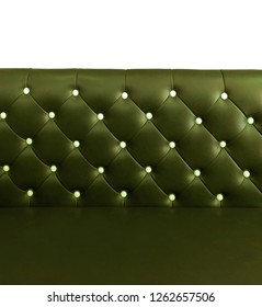 shameless beautiful leather sofa, isolated background of white buttoned on luxury green leather pattern,Vip luxury green leather background with buttons, vintage leather cushion green color background