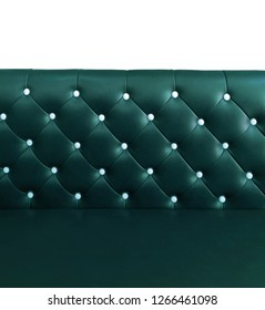 shameless beautiful leather sofa, isolated background of white buttoned on luxury blue leather pattern, Vip luxury turquoise leather with buttons, vintage leather cushion green blue color background