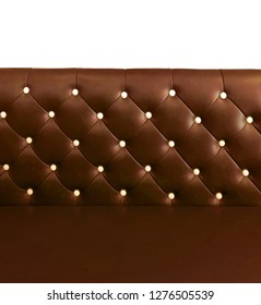 shameless beautiful leather sofa, isolated background of white buttoned on luxury colorful brown leather pattern, Vip luxury bright brown leather with buttons, vintage leather cushion brown color