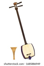 """Shamisen (medium type """"Chuzao"""" in Japanese and plectum """"Bachi"""" in japanese) traditional 3 strings instrument of japan widely use in opera and kabuki. Isolated on white background. - Shutterstock ID 1685886949"""