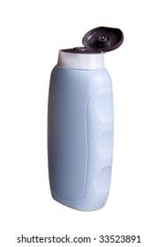 The shampoo in blue bottle