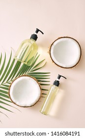Shampoo and spray coconut hair care. Natural cosmetics homemade mask. Coconut oil and scrub. Spa and wellness. Homemade beauty products. Healthy lifestyle.