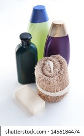 shampoos with a washcloth and soap on white background
