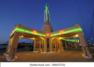 Shamrock, Texas, USA - March. 28. 2012: Historic U-Drop Inn, former diner built in 1936 along historic Route 66 with art deco architecture, appeared as the shop image in animated film Cars in 2006