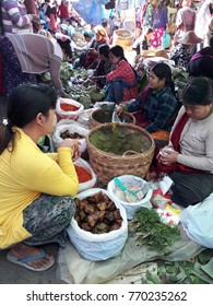Shan State, Myanmar - December  5: Local market in the morning  at Shan State  , Myanmar on  December 5, 2017 .