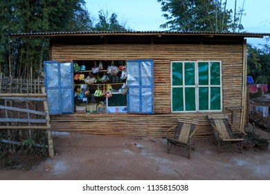 Shan State, Myanmar - February 10, 2018: Small roadside shop selling snacks in rural Myanmar