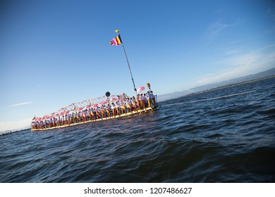 Shan State, Myanmar - Oct 15, 2018. Intha people during annual Buddhist Phaung Daw U festival on Inle Lake, Shan State, Myanmar.