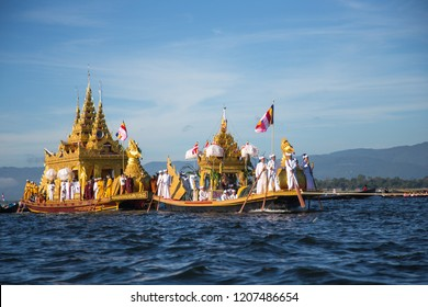 Shan State, Myanmar - Oct 15, 2018. Intha people during annual Buddhist Phaung Daw U festival on Inle Lake, Shan State, Myanmar.
