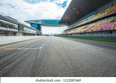 ShangHai, 18 AUG 2017 China: Empty racing track with grandstand, in the middle of racing track