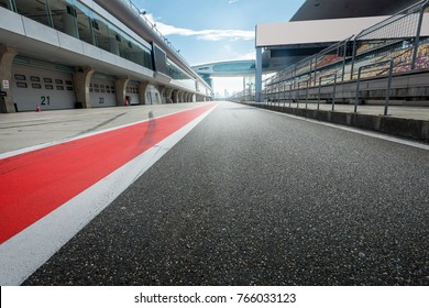 ShangHai, 18 AUG 2017 China: Empty Race track , Formula 1 Circuit with patron grandstand alongside. Concept of spectatorship for decisive sport moments.