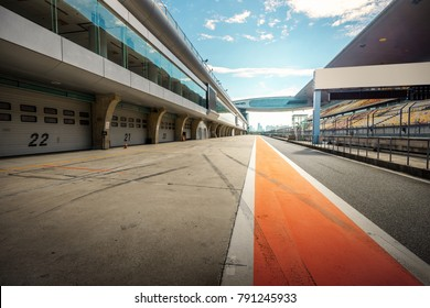 ShangHai, 18 AUG 2017 China: racetrack pit stop empty background with grandstand