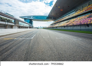 ShangHai, 18 AUG 2017 China: Empty Racing track with grandstands , shooting in the middle of the racing track and starting point