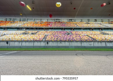 ShangHai, 18 AUG 2017 China: Racing track with empty grandstand