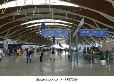 SHANGHAI - 2 MAY: Shanghai Pudong International Airport in Shanghai, China on 2 May 2016