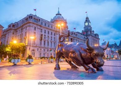 SHANGHAI - AUG 31 : The Shanghai Bull, the Bund Financial Bull or the Bund Bull on August 31, 2017. It unveiled on The Bund in Shanghai on May 15, 2010