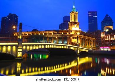 Shanghai Bund European ancient buildings of the night