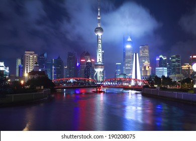 Shanghai bund garden bridge and lujiazui of skyline at night