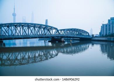 Shanghai bund old garden bridge and modern landmark architecture cityscape skyline