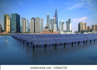 Shanghai Bund skyline landmark ,Ecological energy renewable solar panel plant