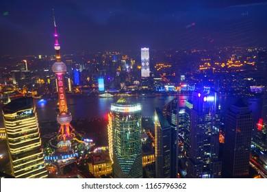 Shanghai, Shanghai / China 07 24 2018: The night and sun set of Shanghai City