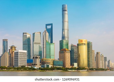 Shanghai - China - 1 November ,2018:Shanghai The Bund , located on the Bank of the Huangpu River in the Central District of Shanghai, is a scenic spot of Shanghai and a tourist destination for sightse