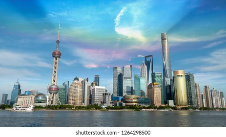 Shanghai, China - 1 Oct 2018: the first day of the long holidays in Shanghai on October 1st, the streets of Shanghai, China