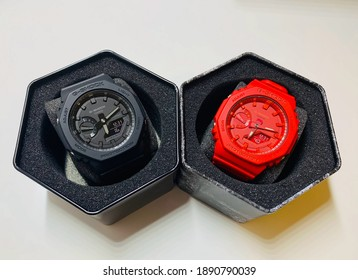 Shanghai, China - 10 January 2021: Gshock watch model GA-2100  in red and black color