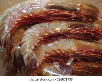 Shanghai, China - 14 October 2016: Tiger prawns for sale at a market