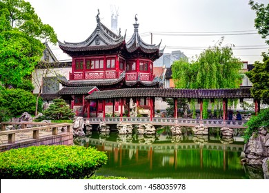 SHANGHAI, CHINA - 16 APRIL 2013: The City God Temple or Chenghuang Miao area - district of commerce in the city. There are over a hundred stores and shops, most of buildings are nearly a century old