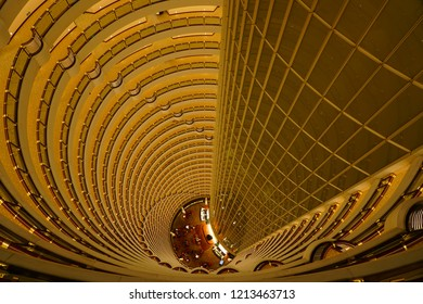 SHANGHAI, CHINA -16 AUG 2018- Interior view of the spectacular atrium of the Grand Hyatt Shanghai hotel in the modern Jin Mao Tower (The Golden Prosperity Building), Shanghai, China.