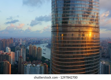 SHANGHAI, CHINA -16 AUG 2018- View of the Shanghai skyline along the Huangpu River seen from the Jin Mao Tower (The Golden Prosperity Building), home of the Grand Hyatt Shanghai hotel.