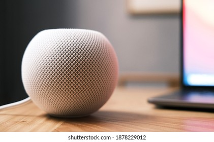 Shanghai, China - 18 December 2020: Apple HomePod Mini