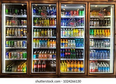 Shanghai, China. 2018 FEB 14, Drinking Water of Convenience stores refrigerator with various products.