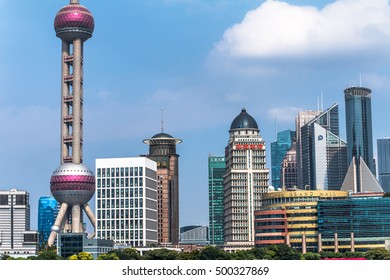 Shanghai, China - 23 September, 2016. Pudong district view from The Bund waterfront area. Most popular view of city.