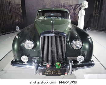 Shanghai/ China - 26 May 2019: Front view of a green Bentley (by Bentley Motors Limited) made in Britain in the early 1950s