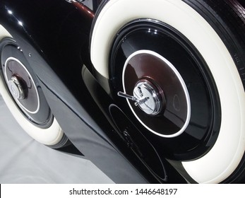 Shanghai/ China - 26 May 2019: Close up of the white wall tires on a brown Rolls Royce 20/ 25 built in 1934 in Crewe, England on display at the Shanghai Super Classic Car show