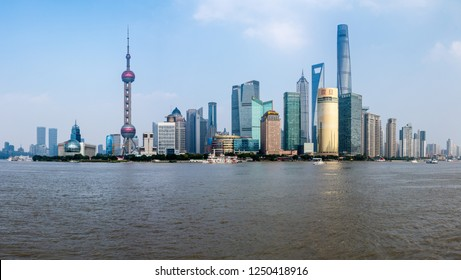 SHANGHAI, CHINA - 26 OCTOBER 2018: High resolution panoramic view of Shanghai skyline